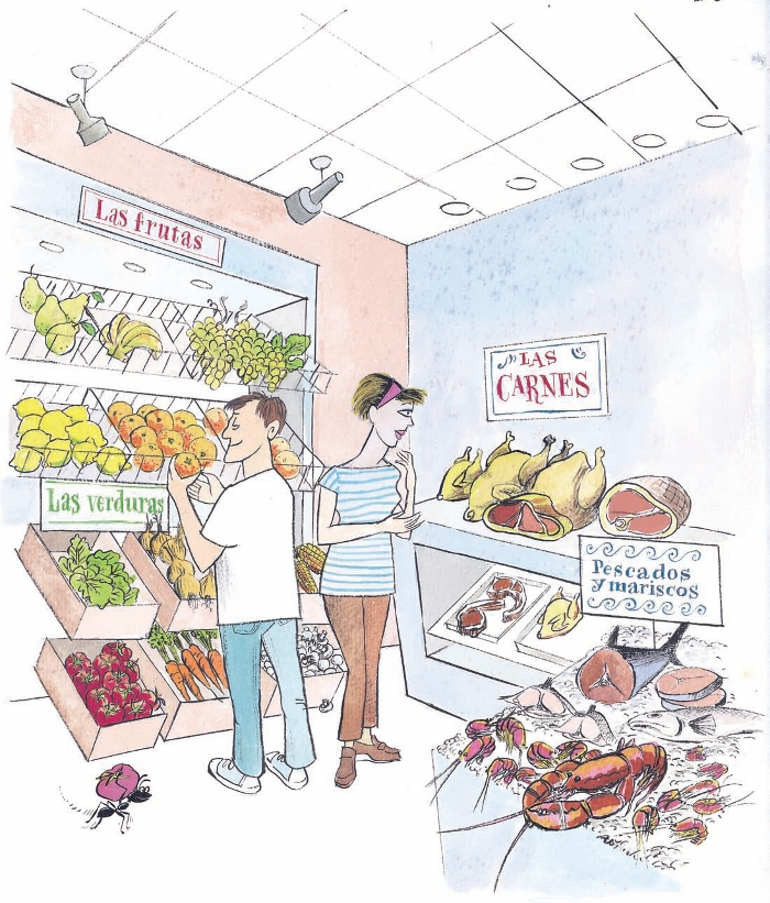 """A man and woman look around a grocery store.  The man holds an orange in front of a wall labeled """"Las frutas"""" and """"Las verduras"""" with boxes of pears, bananas, grapes, limes, oranges, lettuce, onions, corn, peppers, carrots, and mushrooms. The woman looks"""