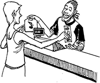 A woman hands some bills to a man behind a cash register.  The man hands her a bag with a music note on it.