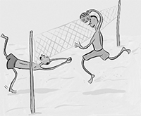 One man spikes a volleyball as another dives to save it.